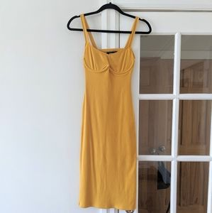 Reformation yellow ribbed dress
